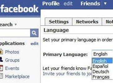 facebook language menu